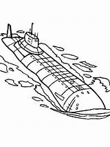 Submarine Coloring Pages Printable Template Transportation Submarines Yellow Templates Paper sketch template