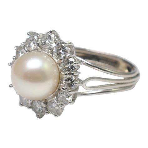 vintage diamond  pearl cluster ring plaza jewellery