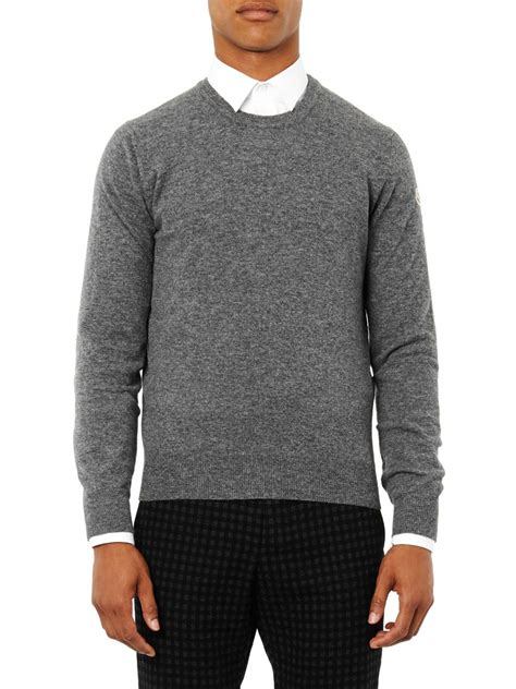 moncler sweater moncler crew neck wool sweater in gray for lyst