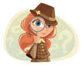 A Girl a Cartoon Detective with Magnifying Glass