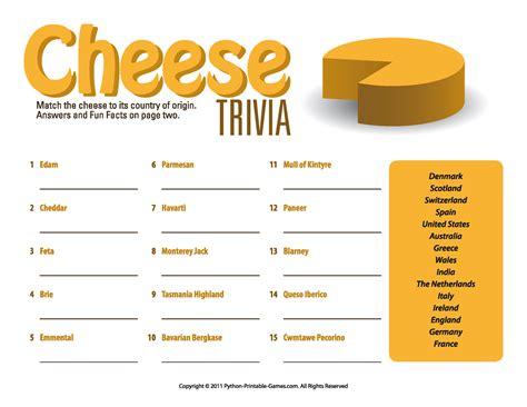 quiz cuisine picnic printable cheese trivia quiz picnic