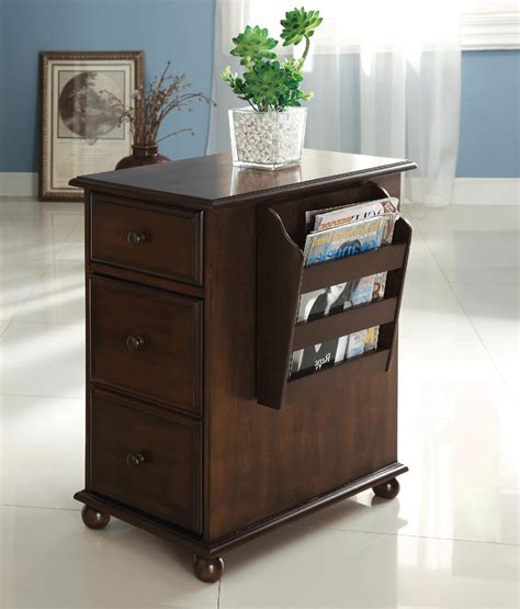 table and storage furniture of america zenners dark walnut side table with