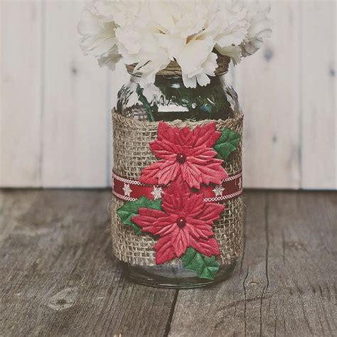 burlap christmas mason jar decor christmas centerpiece vase