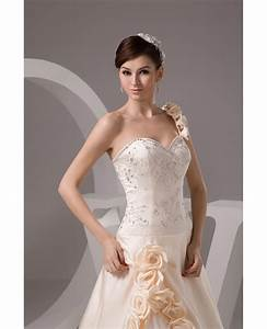 Chart View Champagne One Shoulder Embroidered Flowers Wedding Dress