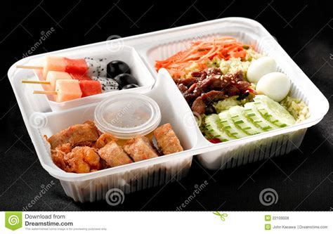 box cuisine mensuel food style ready made in bento rice box stock photo