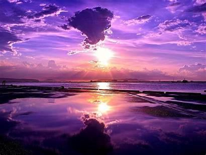 Sunset Purple Sky Horizon Nature Skyscapes Sun