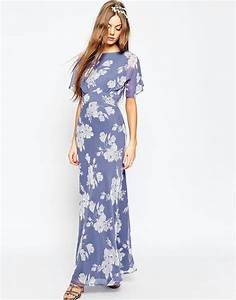 asos wedding soft rose print maxi dress multi in blue lyst With dressy maxi dresses for wedding