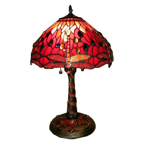 red tiffany style l 20 quot tiffany style 2 light red dragonfly table l