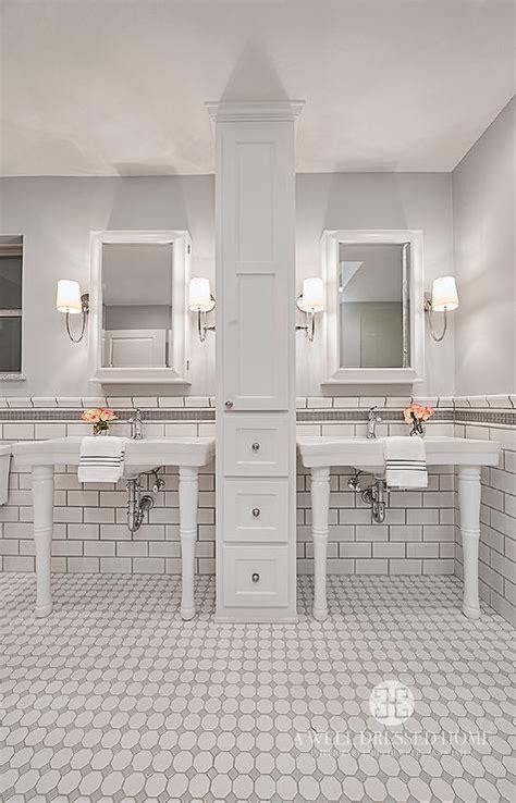 white  grey bathroom tiles transitional bathroom