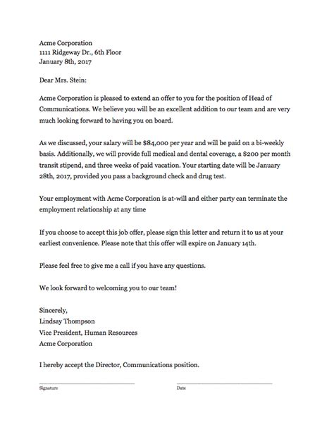 Offer Letter Template Offer Letter Template That Works Clicktime