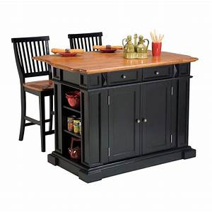Shop home styles black farmhouse kitchen island with 2 for Kitchen cabinets lowes with set of 2 canvas wall art