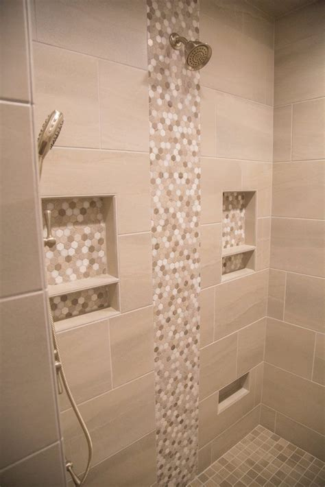Pictures Of In Shower - beige porcelain tile shower with accent and niche