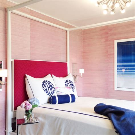 pink grasscloth contemporary bedroom tiffany richey