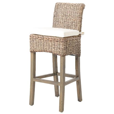 Contemporary Vanity Light by Sisson Coastal Beach Woven Banana Leaf Wood Counter Stool