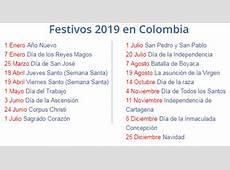 Calendario de Colombia 2019 Con Festivos