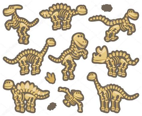 dino puzzle colección de vector de fósiles de dinosaurios o de huesos