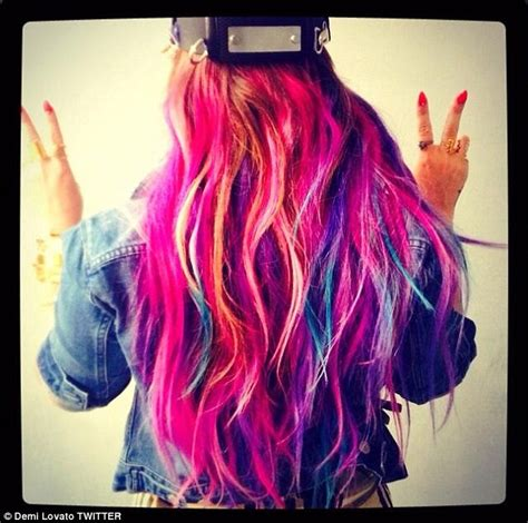 Coloured Hair by Demi Lovato Steps Out With Multi Coloured Hair Extensions