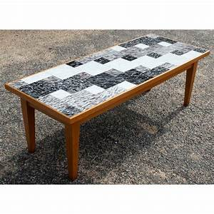 vintage danish style coffee table with glass tile ebay With coffee table with tiles