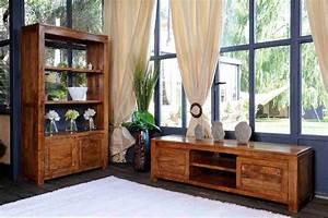 Meuble tele bois exotique acacia 3 tiroirs guntur 3511 for Deco cuisine pour meuble tv bois