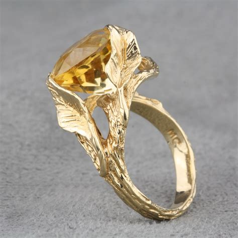 Pre-Owned Branch Design Citrine Ring