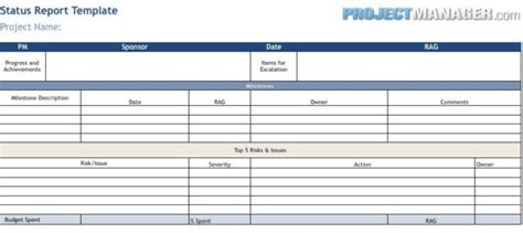 project status report template excel status report template projectmanager