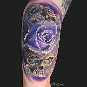 Violet Rose Skulls tattoo by Phil Garcia | Best Tattoo ...