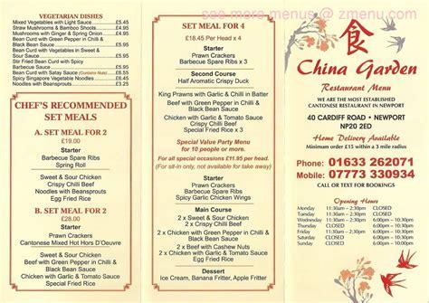 China Garden Perry Mi by Menu Of China Garden Restaurant Newport