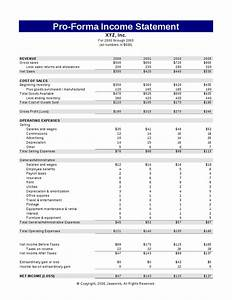 pro forma monthly income statement example With 5 year pro forma template