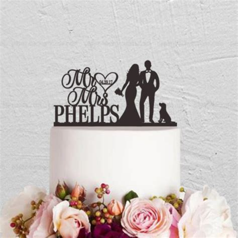 Personalized Date Last Name Acrylic Mr And Mrs Cake Topper