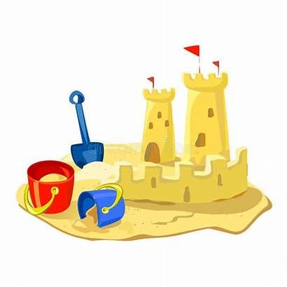 Sand Castle Beach Toys Vector Cartoon Isolated