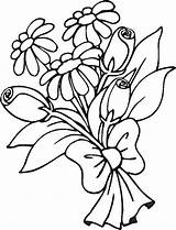 Bouquet Coloring Flowers Pages Colouring Printable Clipart sketch template