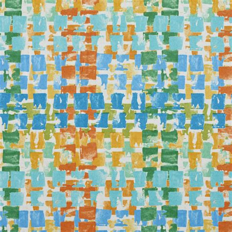 Blue And Orange Upholstery Fabric by B033 Blue Green And Orange Overlapping Boxes Outdoor