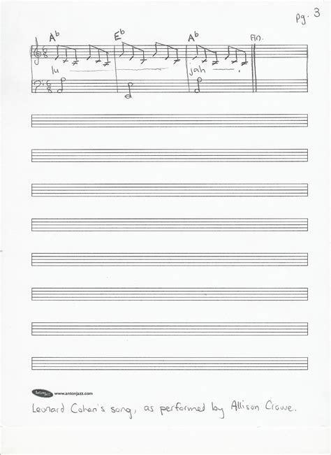 Words to Hallelujah Sheet Music Lyrics Leonard Cohen