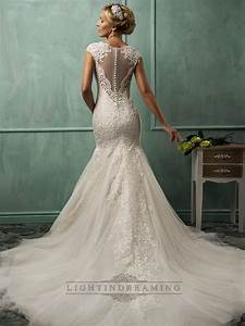 Fit and flare cap sleeves v neck lace wedding dresses with for Lace fit and flare wedding dress with sleeves