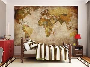 Deco Murale Vintage : papier peint photo mappemonde motif vintage retro ~ Melissatoandfro.com Idées de Décoration
