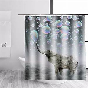 Elephant Fabric Waterproof Bathroom Shower Curtain Panel