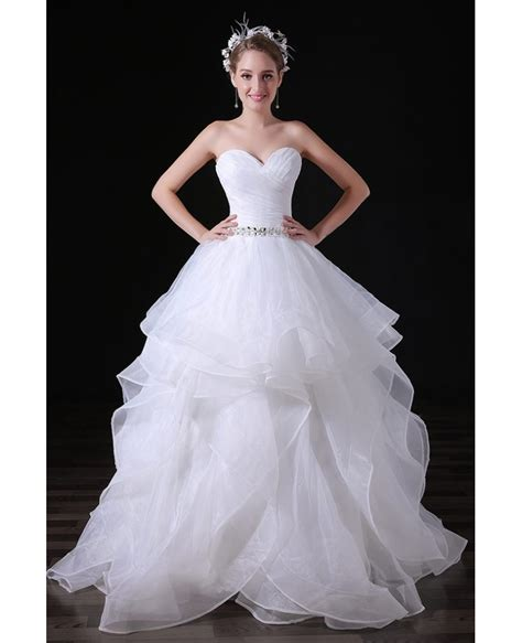 Ball Gown Sweetheart Floor Length Tulle Wedding Dress With