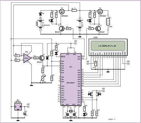 Solar Cell Battery Charger Monitor Schematic Circuit Diagram