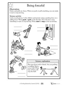 Here's A Handout For K1 On Forces  Forces And Motion  Science Worksheets, Kindergarten