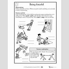 Here's A Handout For K1 On Forces  Forces And Motion  Science Worksheets, First Grade