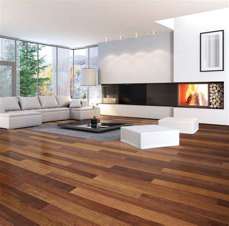 Excellent Modern Living Room With Natural Bamboo Flooring