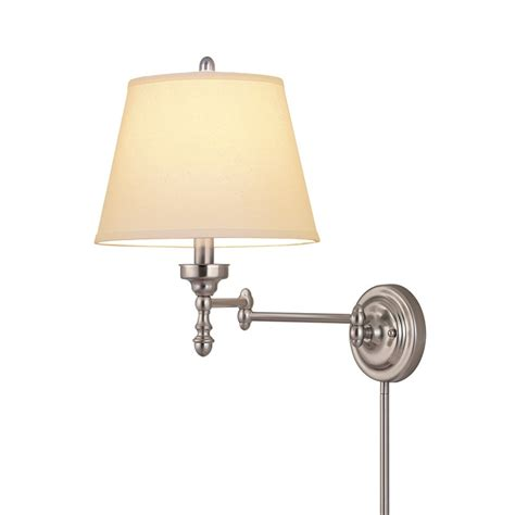 allen roth 63 in h 3 way brushed nickel swing arm fabric shade at lowes com