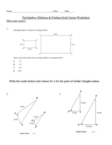 Pa Finding Scale Factor Worksheet