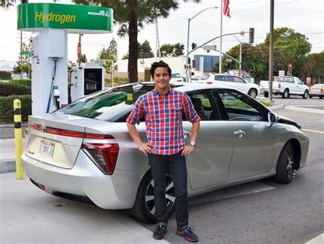 drove toyotas mirai hydrogen fuel cell car   sewage