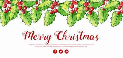 Merry Banner Watercolor Floral Clipart