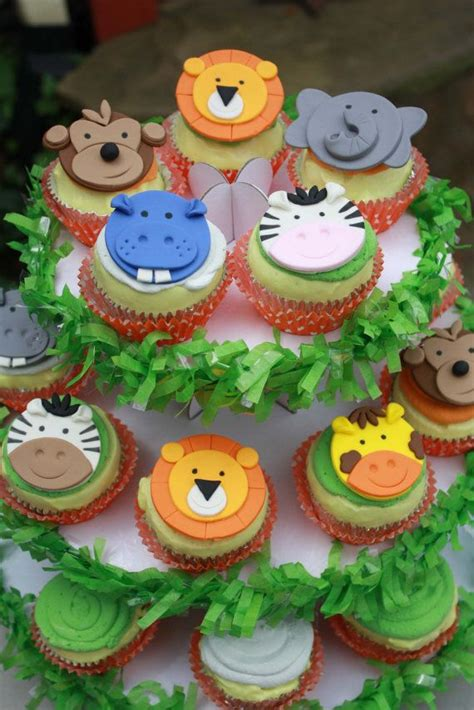 jungle animal cupcake toppers safari jungle  clementinescupcakes jungle safari party