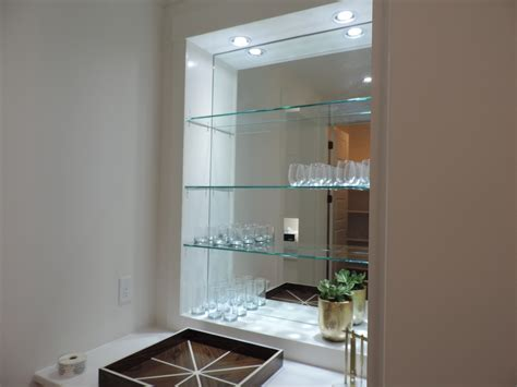 bedroom glass wall shelves decorating ideas modern glass wall shelving Bedroom Glass Wall Shelves Decorating Ideas