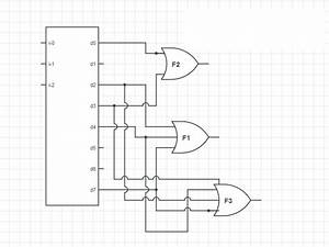 digital logic showing three functions with decoder 3 8 With 3 8 decoder circuit