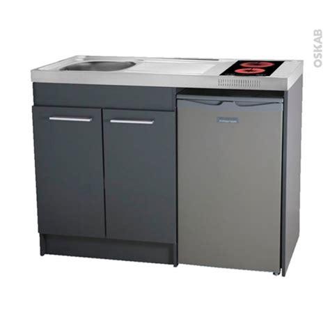 bloc evier cuisine kitchenette vitrocéramique meuble sous évier gris avec