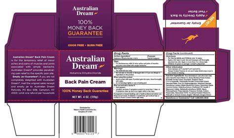 australian dream  pain cream natures health connection